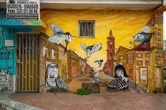 Colourful street art decorating houses in Valparaiso, Chile. Stock Photography