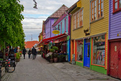Colourful street with bars and restaurants in Storhaug district, Stavanger, Norway. Øvre Holmegata, Stavanger's most colourfull street with shops, cafes Stock Photo