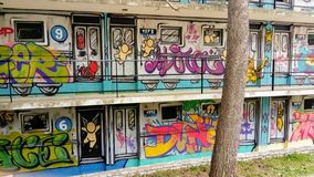 The house is covered with graffiti