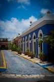 Colourful street in Old San Juan Puerto Rico. SAN JUAN, PUERTO RICO - April 2017: colourful old street in downtown in San Juan, Puerto Rico. San Juan is the royalty free stock photo