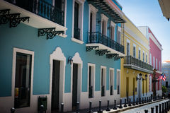 Colourful street in Old San Juan Puerto Rico. SAN JUAN, PUERTO RICO - April 2017: colourful old street in downtown in San Juan, Puerto Rico. San Juan is the stock image