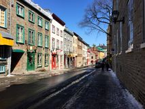 Colourful street in Quebec City's Old Town in early spring Royalty Free Stock Image
