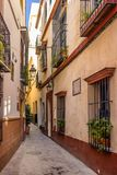 Typical street in Seville. Colourful street in the Spanish city of Seville Royalty Free Stock Photos