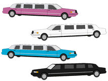 Colourful stretch limos Royalty Free Stock Photography