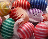 Colourful striped eggs - Spring Easter decoration Royalty Free Stock Image
