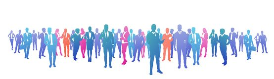 Colourful success business people silhouette, group of diversity businessman and businesswoman successful team concept. Banner vector illustration royalty free illustration