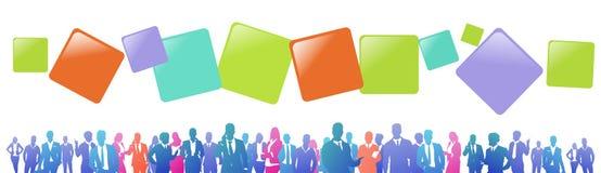 Colourful sukces sylwetki, grupa różnorodność biznesmen i bizneswoman ludzie biznesu, gulgoczą, pomyślna drużyna royalty ilustracja