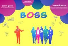 Colourful sukces sylwetki ludzie biznesu, grupa różnorodność biznesmen z szefa liderem, gulgoczą żółtego tło ilustracja wektor