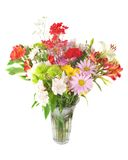 Colourful summer flowers mix. Close-up of colorful summer flowers mix isolated on the white Stock Image