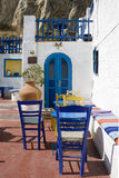 Colourful summer greek bar. Characteristic bar under the Venetian Quirini Fortress in Dodecannese Island - Greece Royalty Free Stock Photos