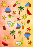 Colourful Summer Pattern. Colourful seamless pattern - summer theme vector illustration