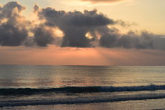 Colourful sunrise in Kailua beach, Hawaii. A beautiful and colourful sunrise with waves in kailua Hawaii stock image