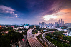 Colourful sunrise at kuala lumpur. This image taken from rooftop building in kuala lumpur stock photography