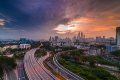 Colourful sunrise at kuala lumpur. This image taken from rooftop builing at kuala lumpur stock photos