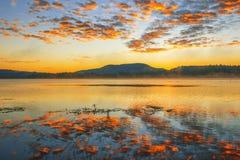 Colourful sunrise at Lake Moogerah in Queensland. Beautifully rich coloured sunrise at Lake Moogerah in Queensland, Australia Stock Photos