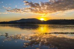 Colourful sunrise at Lake Moogerah in Queensland. Beautifully rich coloured sunrise at Lake Moogerah in Queensland, Australia Royalty Free Stock Photos