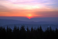 Colourful sunrise on mountains Stock Images