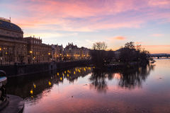Colourful Sunrise in Prague along the Vltava River Royalty Free Stock Images