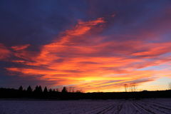 Colourful sunset with field in foreground. Colourful sunset with paintbrushes of blue, orange and yellow with a snow covered field in foreground Stock Photography