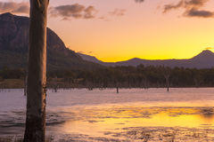 Colourful sunset at Lake Moogerah in Queensland. Beautifully rich coloured sunset on a winters evening at Lake Moogerah in Queensland, Australia Stock Photography