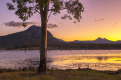 Colourful sunset at Lake Moogerah in Queensland. Beautifully rich coloured sunset on a winters evening at Lake Moogerah in Queensland, Australia Royalty Free Stock Photo