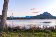 Colourful sunset at Lake Moogerah in Queensland. Beautifully rich coloured sunset on a winters evening at Lake Moogerah in Queensland, Australia Stock Images