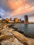 Colourful sunset Sydney cityscape. Modern building in Sydney during beautiful sunset Royalty Free Stock Images