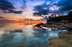 Colourful sunset at tips of Borneo Royalty Free Stock Images