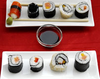 Colourful sushi rolls Stock Photos