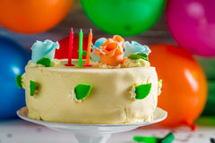 Colourful and sweet cake for birthday Royalty Free Stock Images