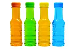 Colourful of sweet drinking water bottles. On white background, drinking party concept Royalty Free Stock Photos