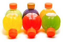 Colourful of sweet water bottles on white background. For party beverage and drinking concept Stock Photography