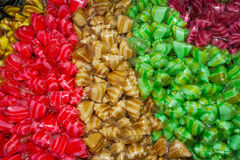 Colourful sweets. Arranged in seperate colours Royalty Free Stock Images