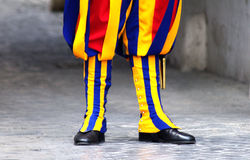 Colourful Swiss Guard Boots. At Vatican City stock images