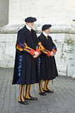 Colourful Swiss guards, Rome, Italy stock photo