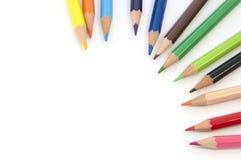 Colourful sztuka ołówki na białym pustym miejscu Zdjęcie Royalty Free