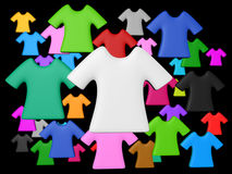 Colourful t-shirt background. Randomize colourful t-shirt isolated black background add your copy text in white shirt Stock Image