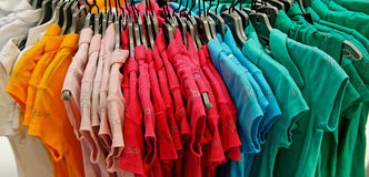 Colourful t-shirts Stock Photography