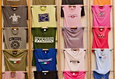 Cinque terre T-shirts on a rack. royalty free stock photo