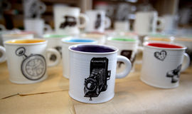 Colourful tea cups Stock Images