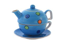 Colourful tea set. With clipping path. Stock Photos