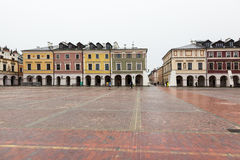 Colourful tenement houses on empty market square in Zamosc, Pola Royalty Free Stock Images
