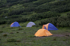 Colourful tents camping. Stock Photos
