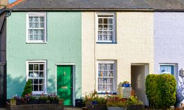 Colourful terraced houses in Southwold, a seaside town in the UK stock photos