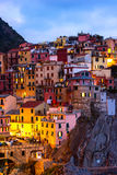 Colourful texture of Manarola city of Cinque Terre Stock Images