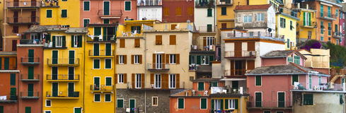 Colourful texture of  Manarola village. Royalty Free Stock Image