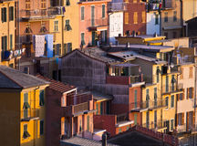 Colourful texture of  Riomaggiore village Royalty Free Stock Images