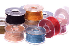 Colourful Thread Bobbins Macro Isolated Royalty Free Stock Image
