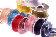 Colourful Thread Bobbins Macro Isolated Royalty Free Stock Photo
