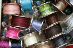 Colourful thread spools Stock Images